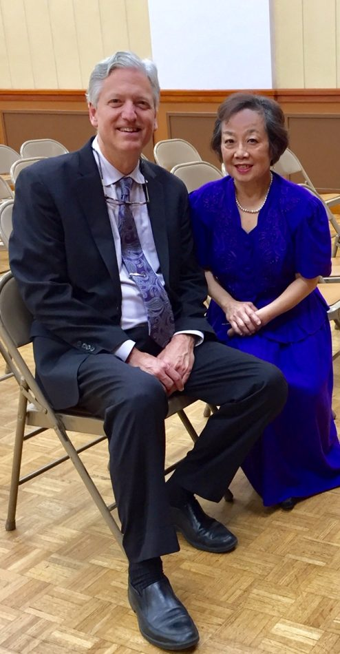 Pianist Brian Ganz poses with Musical Arts International founder Li-Ly Chang.