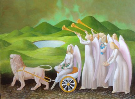 """""""The Angelic Chariot"""" is one of the oil paintings by Alexander Anufriev currently exhibited at the Framer's Choice Gallery on Main Street."""