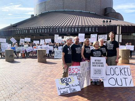 Picketing Baltimore Symphony Orchestra musicians in front of Meyerhoff Hall on the first day of the orchestra's lockout. Negotiations will resume Friday; management plans to extend the lockout until Sept. 9.