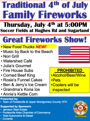 Poolesville Traditional Fireworks and Live Music