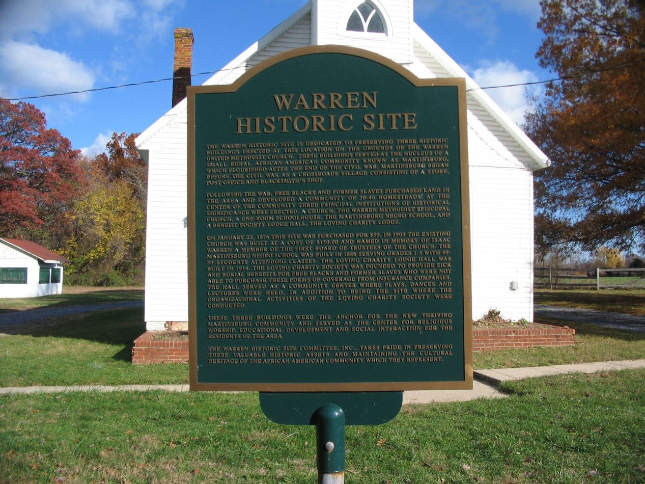Marker in front of the Warren UM Church (2007)