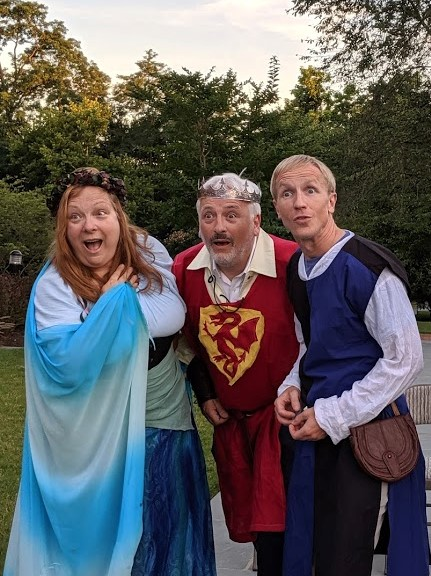 "Left to right: Lady of the Lake (Jennifer Georgia), King Arthur (Peter Wolff) and Lancelot du Lac (Erin Kelman), characters in ""Calamity in Camelot."""