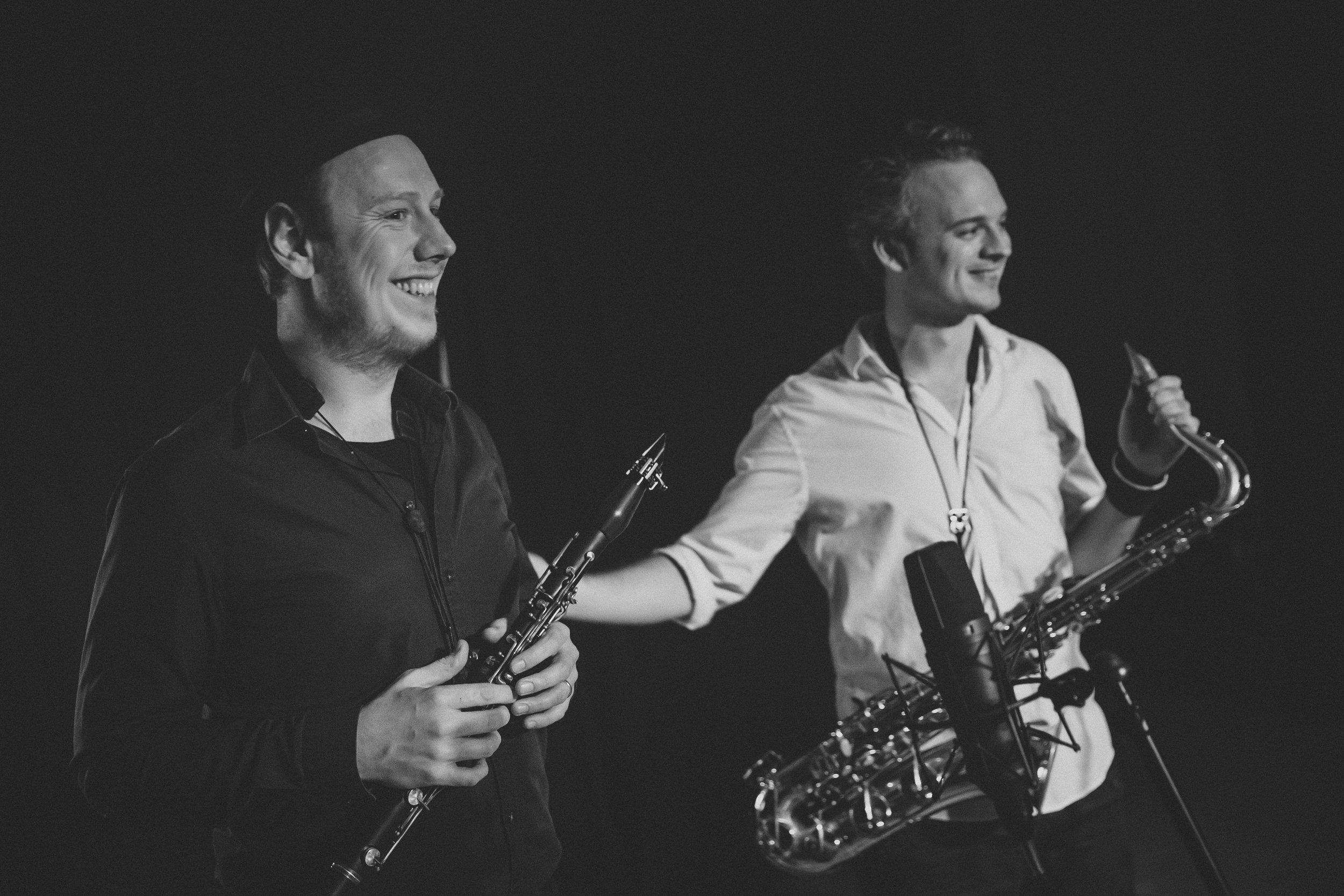 Old friends: Emil Goldschmidt, clarinet, left, and Lukas Rande, saxophone.