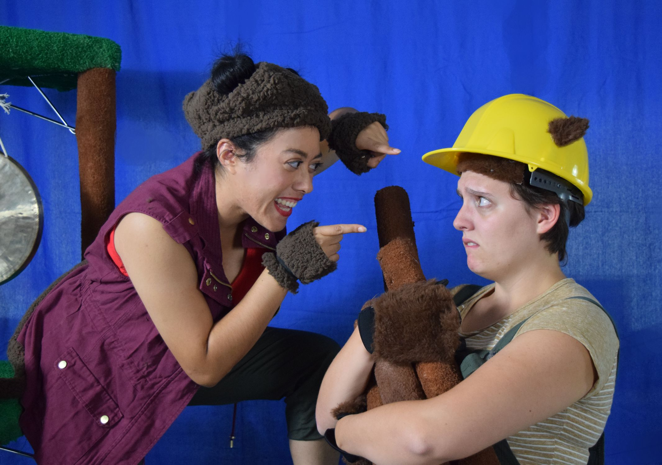 "Helping kids learn about empathy, cooperation and sharing, Ruth Elizabeth Diaz as Bob the Monkey and Nell Quinn-Gibney as Shikoku the Beaver in InterAct Story Theatre's ""Bobtail BONG BONG: A Monkey's Tale."""