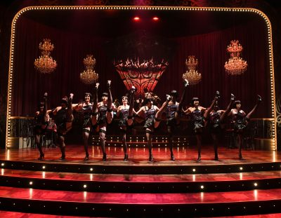 """The """"Cabaret"""" ensemble, with Mason Alexander Park (center), take the stage, stunningly rendered by set designer Wilson Chin in his Olney Theatre Center debut."""