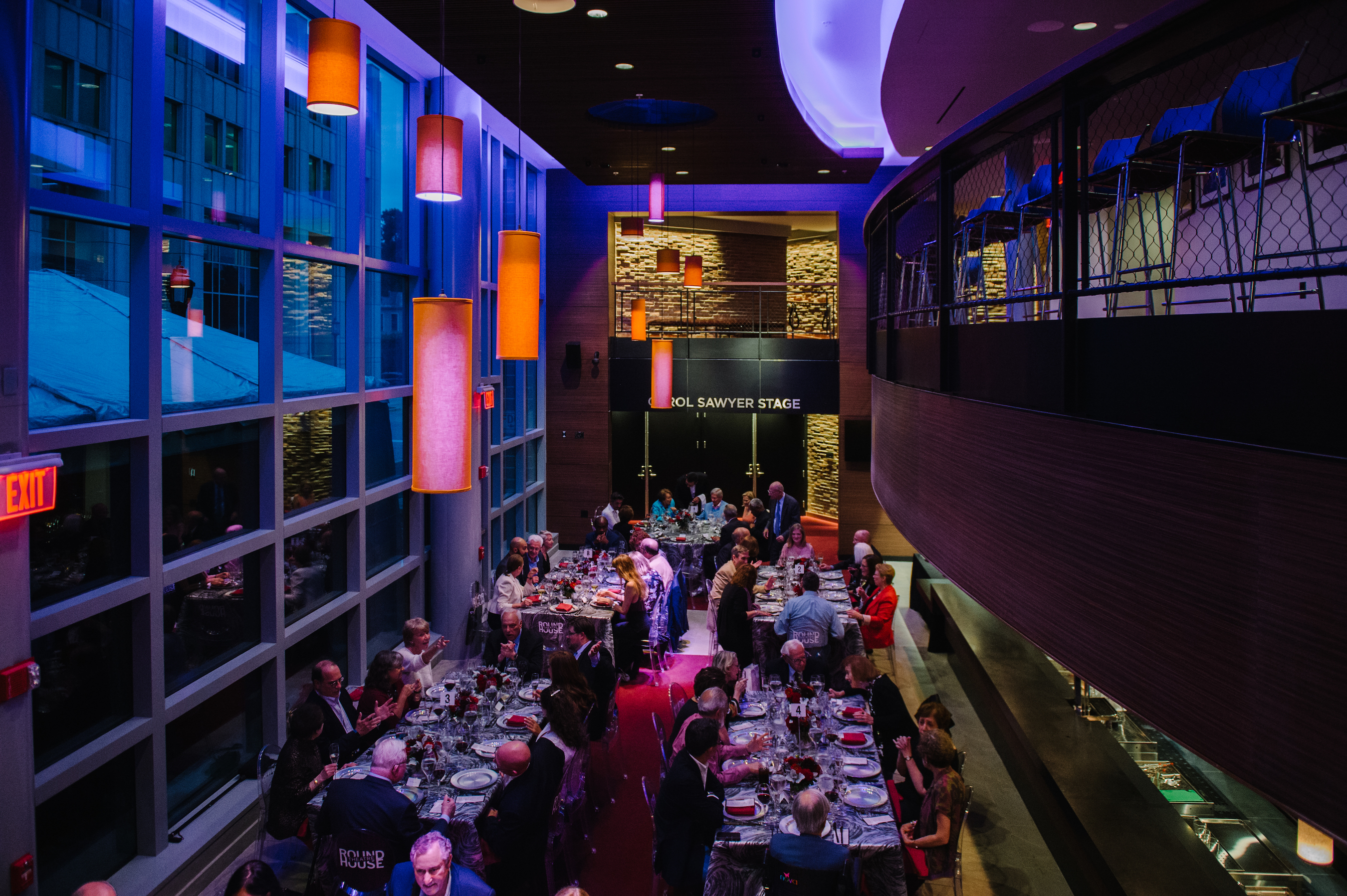 The new Round House Lobby is a great place to meet and eat; a recent Donor Appreciation Dinner showed off the space's flexibility.