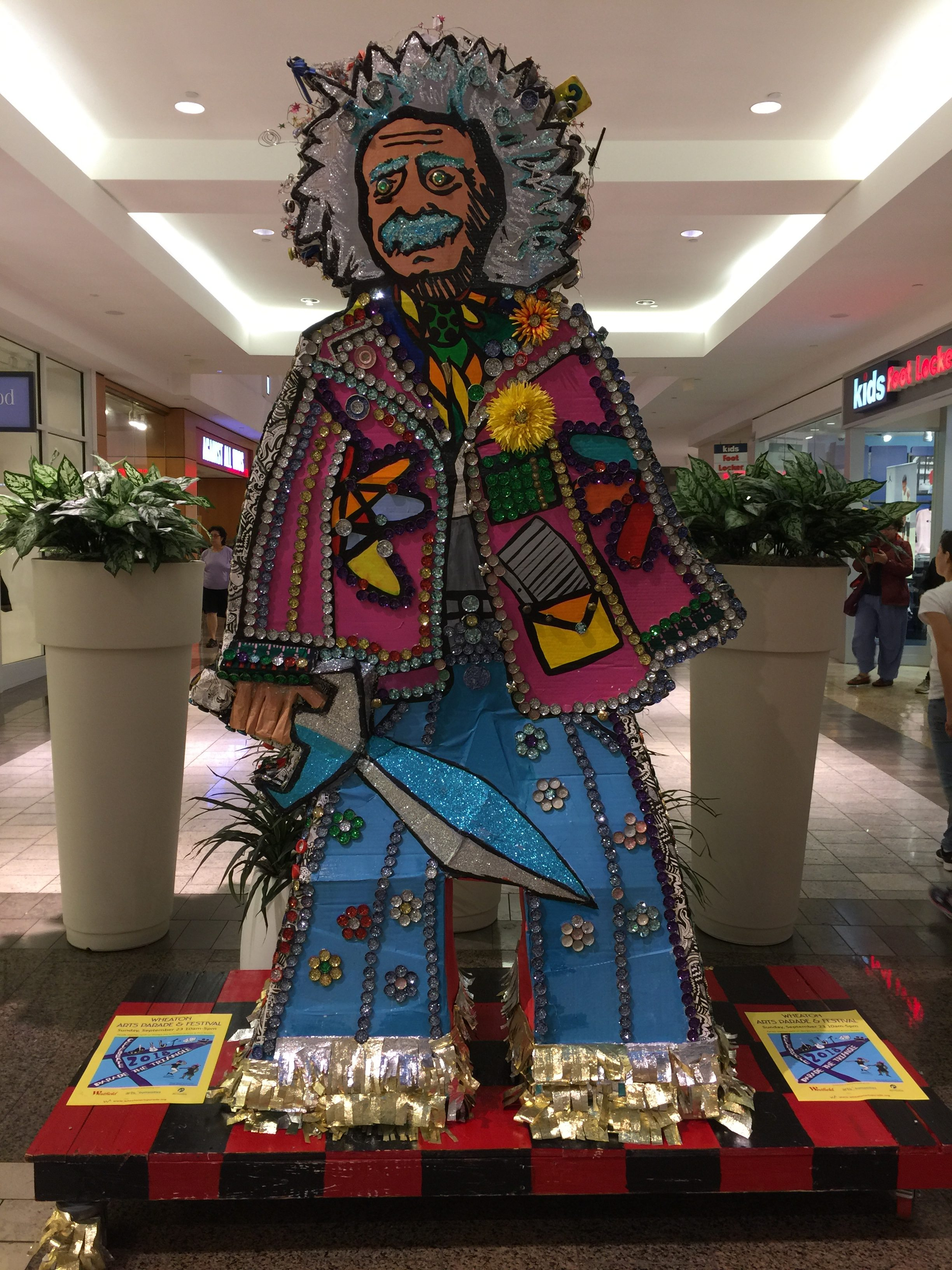 A bedazzled Albert Einstein on display at Westfield Wheaton mall.