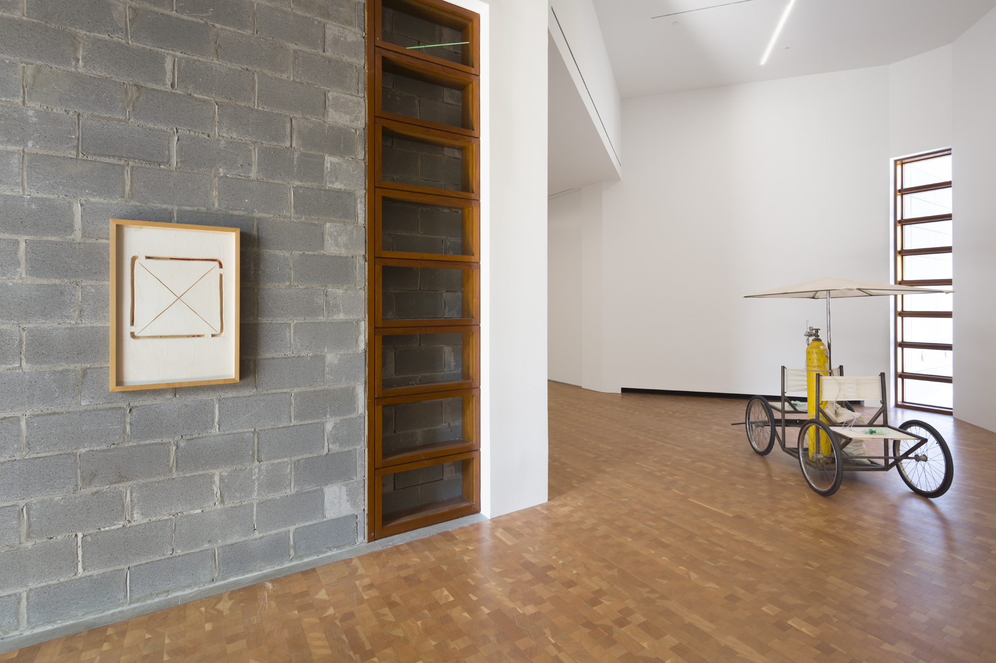 "Works by American artist Gordon Matta-Clark, selected from Glenstone's collection, installed in ""Fear Eats the Soul"" by Rirkrit Tiravanija at Glenstone Museum. © Rirkrit Tiravanija, 2019"