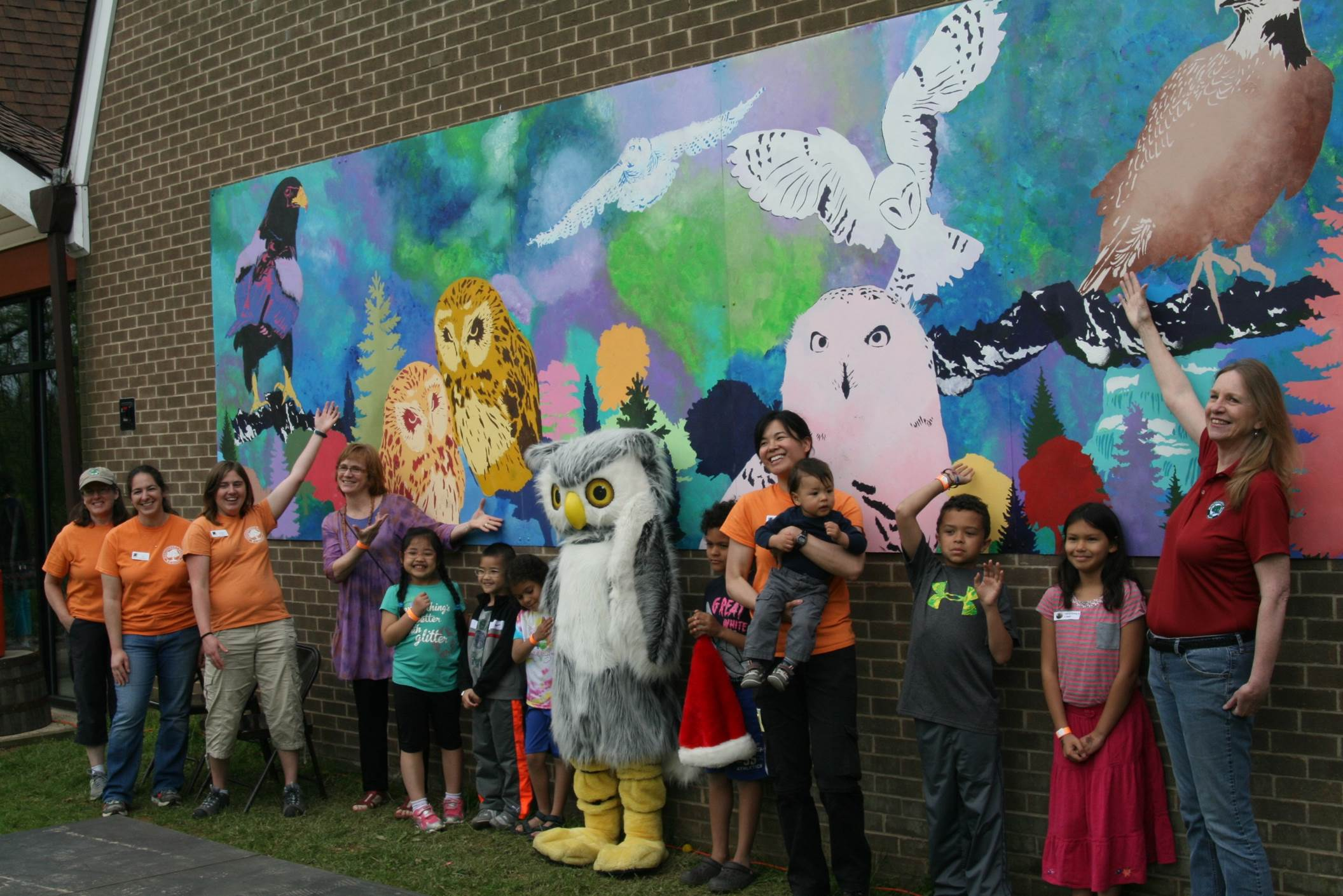 This raptors mural at Meadowside Nature Center was created by women at the Montgomery County Correctional Facility, with lead artists Peter Krsko and Alicia Cosnahan