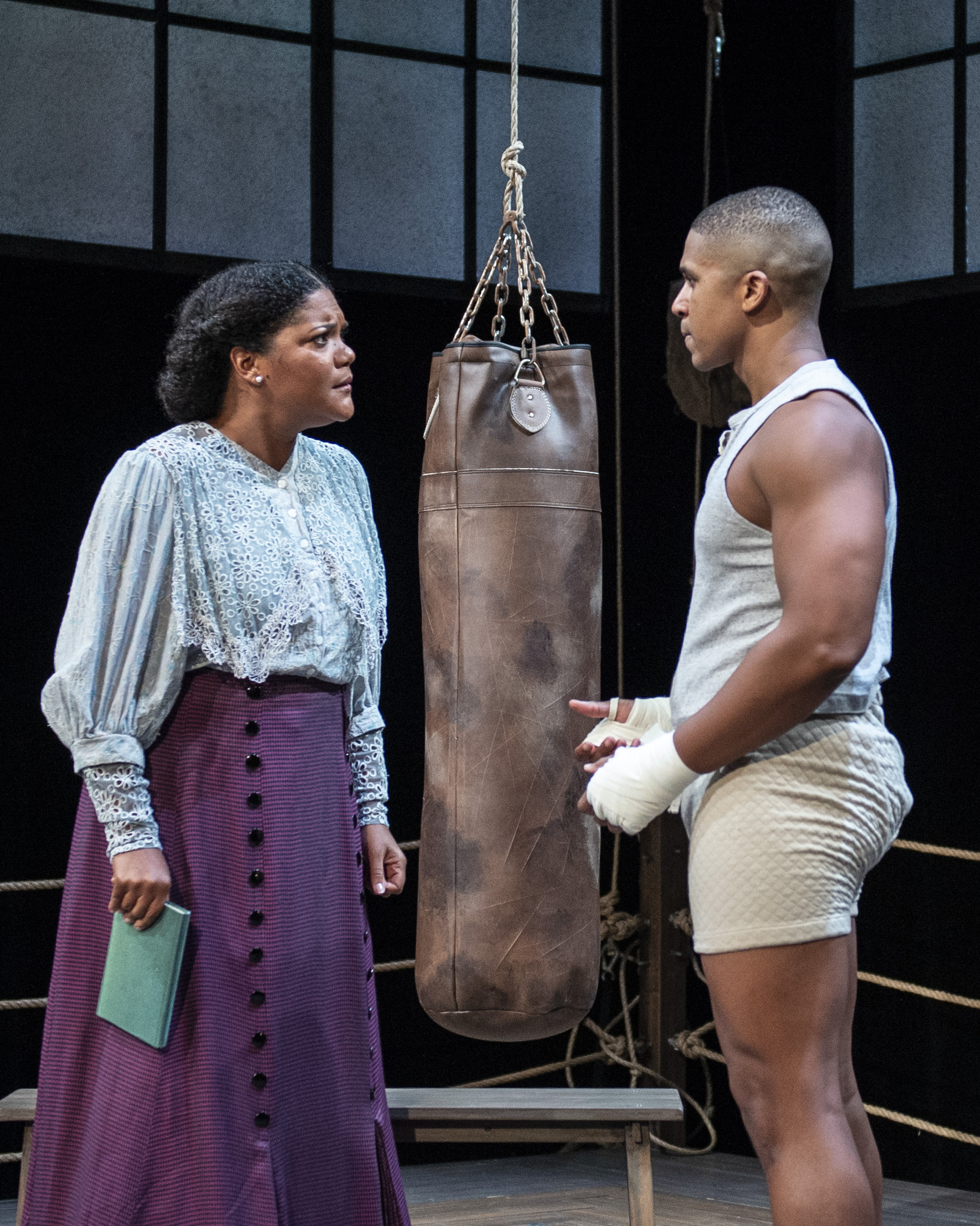 Lolita Marie as Jay Jackson's sister, Nina, and Jaysen Wright consider what it means to fight and to win.