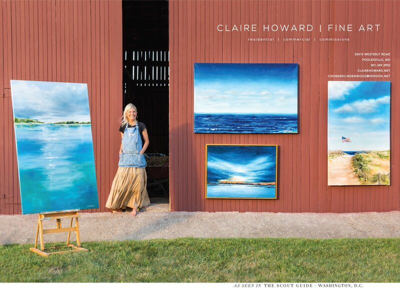 Poolesville-based painter Claire Howard amid some of her work.