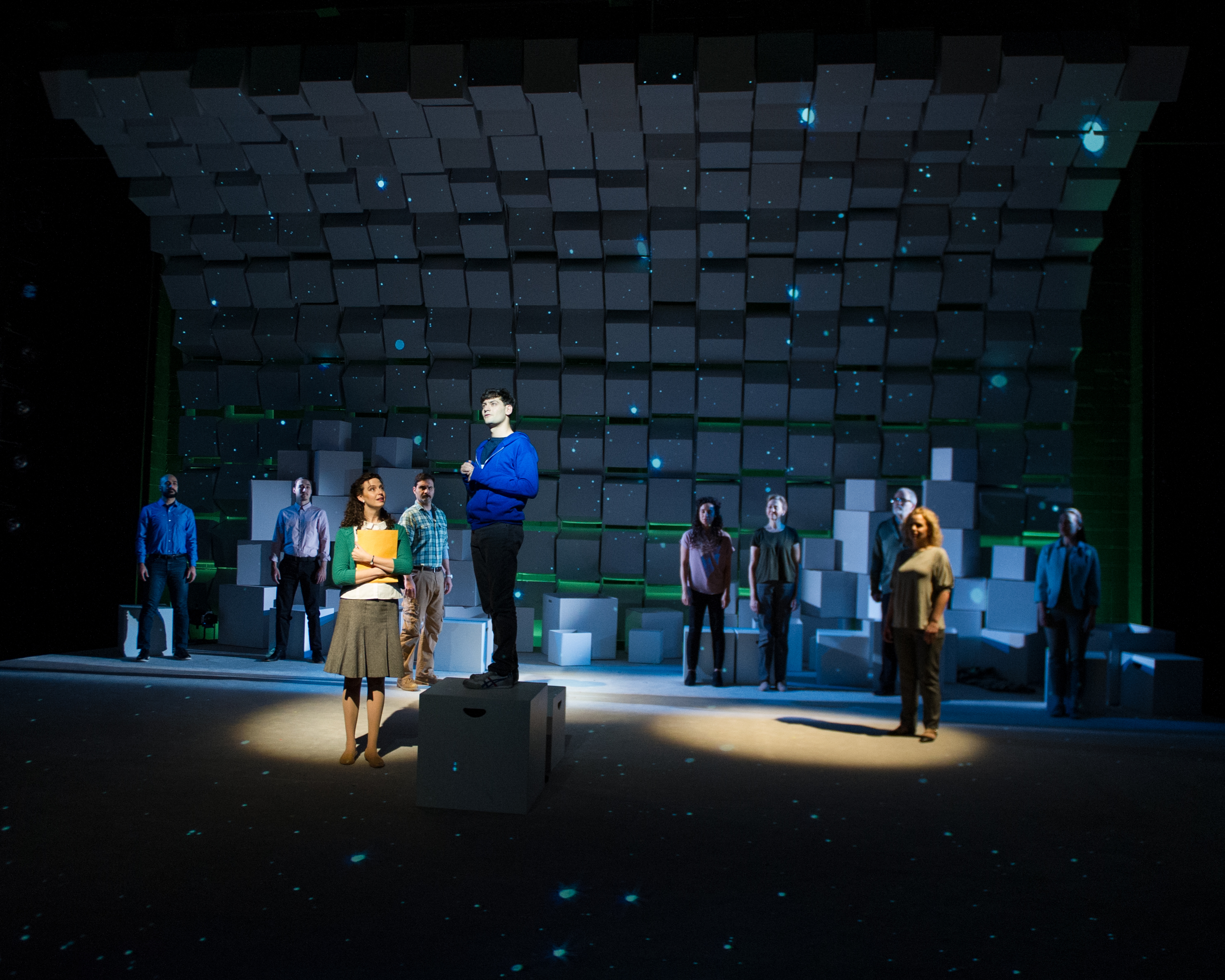 "The full cast of ""The Curious Incident of the Dog in the Night-Time"" at Round House Theatre."