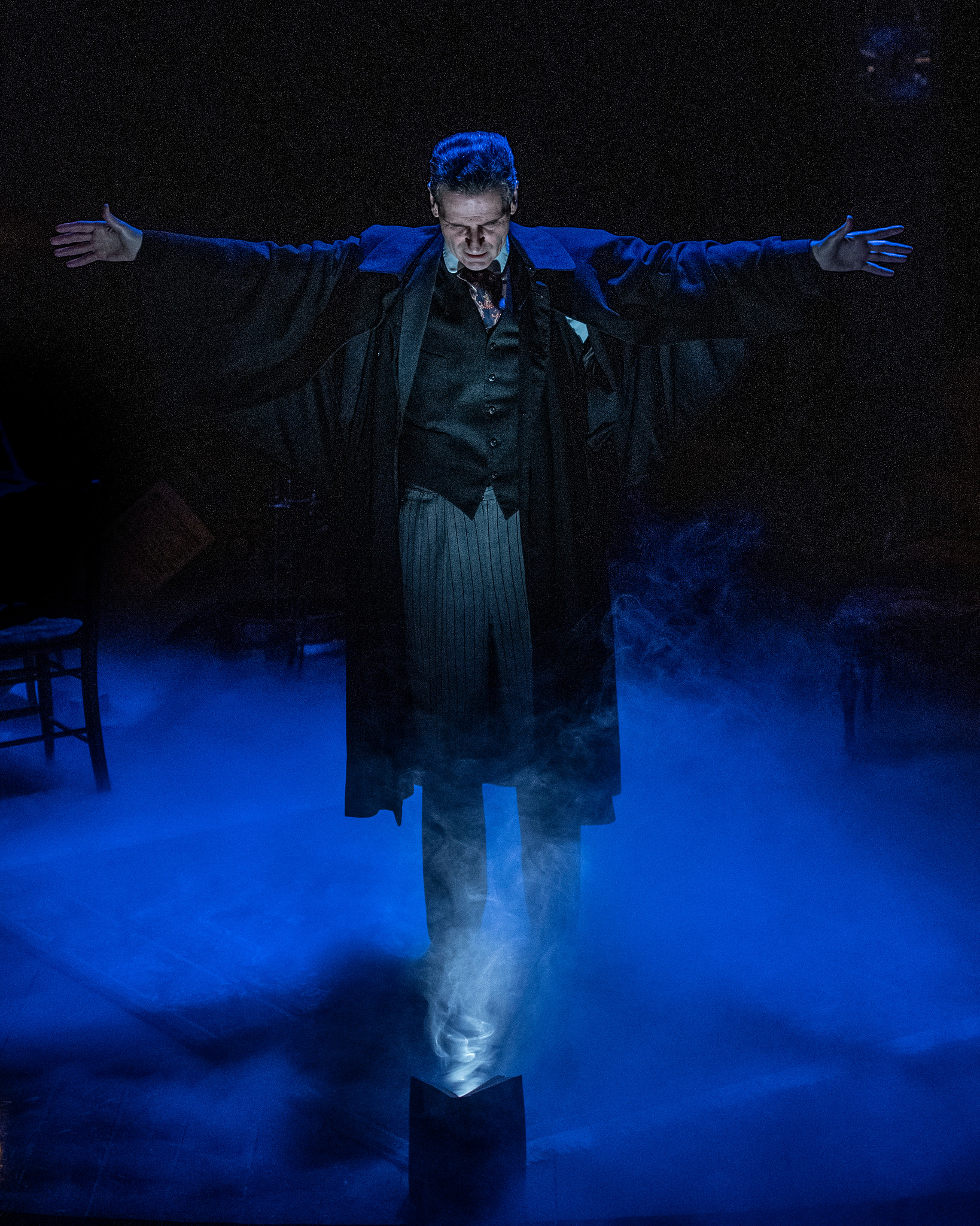 "Ghosts visit Paul Morella's Ebenezer Scrooge in ""A Christmas Carol"" at Olney Theatre Center."