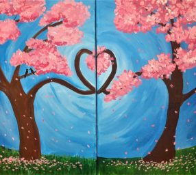 Cocktails and Canvas – Trees of Love (Diptych)
