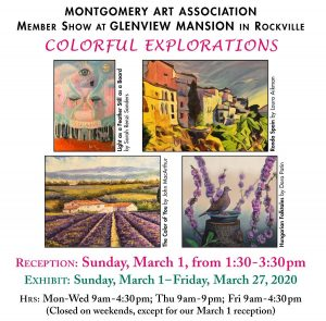 """Colorful Explorations"": An MAA Members Show at Glenview Mansion"