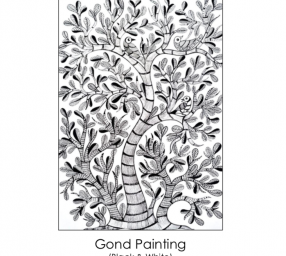 Gond Painting in Black and White