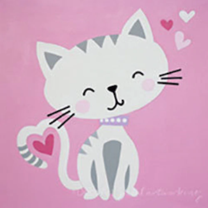 Children's Painting – Valentine Cat – Ages 5-10